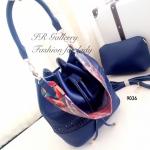 กระเป๋าสะพายแฟชั่น กระเป๋าสะพายข้างผู้หญิง หนังพียูคุณภาพทรงขนมจีบรูด ฉลุลาย Style Bohemian Size M [สีกรม ]