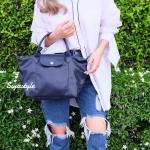 กระเป๋าสะพายแฟชั่น กระเป๋าสะพายข้างผู้หญิง ลองชอมหนัง Style [สีน้ำเงิน ]