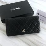Chanel bifold lamb skin wallet (black) SHW holo12