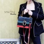 กระเป๋าสะพายแฟชั่น กระเป๋าสะพายข้างผู้หญิง Style กุชชี่ [สีดำ ]