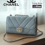 กระเป๋าสะพายแฟชั่น กระเป๋าสะพายข้างผู้หญิง สายโซ่ สไตล์Chanel [สีเทา ]