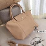กระเป๋าสะพายแฟชั่น กระเป๋าสะพายข้างผู้หญิง แบบชนช้อป Longchamp Le Pliage Cuir size M [สีครีม ]