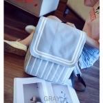 กระเป๋าเป้ผู้หญิง ผ้าแคนวาส สีทูโทน น่ารัก [สีเทา ]
