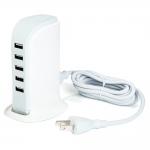 แท่นหัวจ่าย USB จำนวน 5 ช่อง Adaper สีขาว 30W