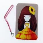 กระเป๋าใส่มือถือ iPad Tablet สีชมพู-ฟ้า ลายเด็กหญิงชุดส้ม พื้นหลังสีเทา ด้านในสีชมพู
