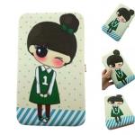 กระเป๋าใส่มือถือ (ขนาด XL 10x19ซม.) ลายเด็กหญิง เสื้อเขียว น่ารักมากๆ