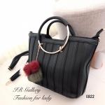 กระเป๋าถือผู้หญิง กระเป๋าสะพายผู้หญิง หนังพียูงานพรีเมี่ยม สไตล์เกาหลี [สีดำ ]