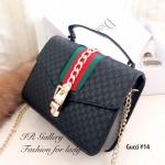 กระเป๋าสะพายแฟชั่น กระเป๋าสะพายข้างผู้หญิง หนังพียูคุณภาพดี แต่งอะไหล่โว่ทอง Style Gucci งานTop Mirror [สีดำ ]
