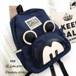 กระเป๋าเป้ผู้หญิง กระเป๋าสะพายหลังแฟชั่น ผ้าแคนวาส Style Mcys [สีกรม ]