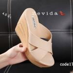 พร้อมส่ง รองเท้าสไตล์สวมส้นเตารีด 17-2288C5-CREAM [สีครีม]