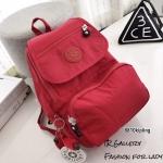 กระเป๋าเป้ผู้หญิง กระเป๋าสะพายหลังแฟชั่น วัสดุผ้าร่มงานคุณภาพนิ่มมาก Style Kipling งานTop Mirror [สีแดง ]