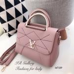 กระเป๋าถือ กระเป๋าสะพายข้างผู้หญิง หนังพียูงานดี ดีเดลเดินด้ายแบบมีลวดลาย Style LV [สีชมพู ]