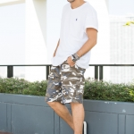 White and Brown Camo Cargo Shorts for Men - size 32