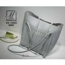 กระเป๋าสะพายกระเป๋าถือ แฟชั่นนำเข้าทรง shopping bag ดีไซน์เรียบเก๋ส์ AX-12223-GRY (สีเทา)