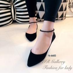 รองเท้าคัทชูส้นแบนสีดำ กำมะหยี่ 16-6683-ดำ