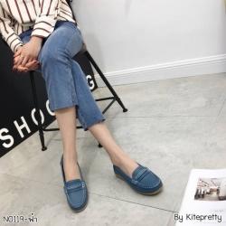 พร้อมส่ง รองเท้าคัทชูส้นเตี้ย N0119D4-BLU [สีน้ำเงิน]