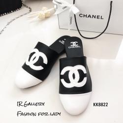 รองเท้าแตะวัสดุหนังนิ่มทรงสลิปเปอร์ KK8822-ดำ (สีดำ)