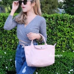 กระเป๋าสะพายแฟชั่น กระเป๋าสะพายข้างผู้หญิง ลองชอมหนัง Style [สีชมพู ]