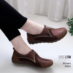 รองเท้าผ้าใบเกาหลีสีน้ำตาล soft&comfort แต่งซิป พื้นถอดได้(ผ้าใบยืด) 8262-น้ำตาล