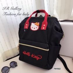 กระเป๋าเป้ผู้หญิง กระเป๋าสะพายหลังแฟชั่น ผ้าแคนวาสคุณภาพดี สีทูโทน ปักลาย hello kitty [สีดำ ]