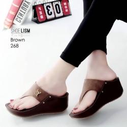 รองเท้าลำลองส้นเตารีดแบบคีบสีน้ำตาล LB-268-น้ำตาล