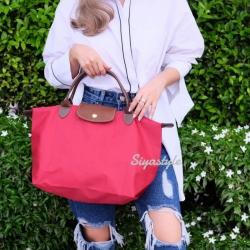 กระเป๋าสะพายแฟชั่น กระเป๋าสะพายข้างผู้หญิง ลองชอมผ้า Style [สีแดง]