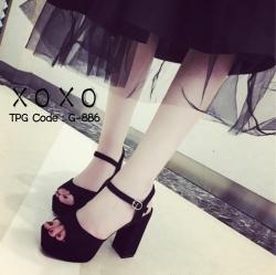 พร้อมส่ง รองเท้าส้นตันรัดส้นสีดำ ผ้าสักหราด แมทส์กับชุดได้ง่าย แฟชั่นเกาหลี [สีดำ ]