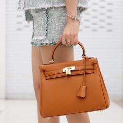 กระเป๋าสะพายแฟชั่น กระเป๋าสะพายข้างผู้หญิง หนังPU Kelly [สีส้ม]