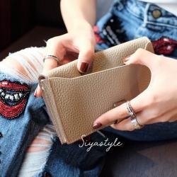 พร้อมส่ง กระเป๋าตังค์ผู้หญิง Wallet leather [สีแอปริคอท]