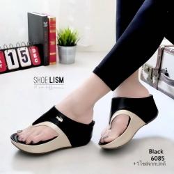 รองเท้าเเตารีดสีดำ หูคีบลาคอส เวอร์ชั่นใหม่ ใส่สบายนิ่มฝุดๆ 6085-ดำ