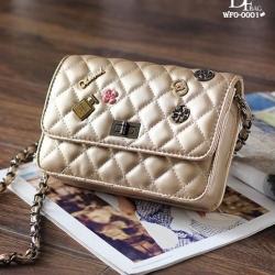 กระเป๋าแฟชั่นนำเข้าสะพายข้าง style CHANEL WFO-0001-GLD (สีทอง)