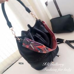กระเป๋าสะพายแฟชั่น กระเป๋าสะพายข้างผู้หญิง หนังพียูคุณภาพทรงขนมจีบรูด ฉลุลาย Style Bohemian Size M [สีดำ ]