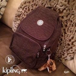 กระเป๋าเป้ผู้หญิง กระเปาสะพายหลังแฟชั่น วัสดุผ้าร่ม Style Kipling งานTop Mirror [สีน้ำตาล ]