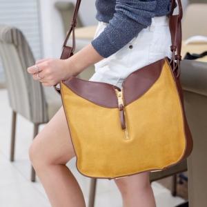 กระเป๋าสะพายแฟชั่น กระเป๋าสะพายข้างผู้หญิง ทรงซีลีน ถือก็ได้ สะพายก็ได้ [สีเหลือง ]
