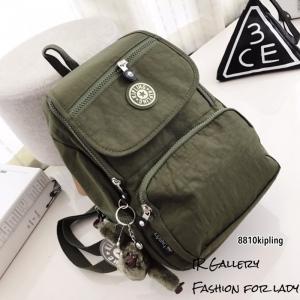 กระเป๋าเป้ผู้หญิง กระเป๋าสะพายหลังแฟชั่น วัสดุผ้าร่มงานคุณภาพนิ่มมาก Style Kipling งานTop Mirror [สีเขียว ]