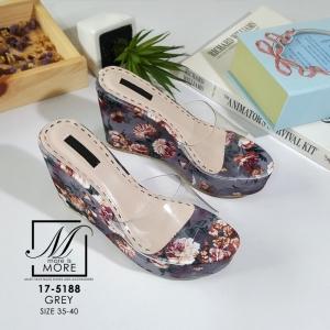 พร้อมส่ง รองเท้าส้นเตารีดลายดอกไม้สีเทา สไตล์วินเทจ สายคาดพลาสติกใส แฟชั่นเกาหลี [สีเทา ]