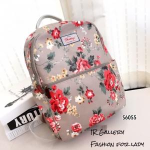กระเป๋าเป้ผู้หญิง กระเป๋าสะพายหลังแฟชั่น ผ้าแคนวาส พิมพ์ลายดอกสีสันสดใส [สีครีม ]