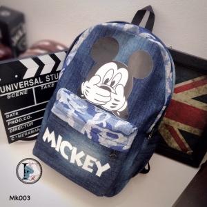 กระเป๋าเป้ผู้หญิง กระเปาสะพายหลังแฟชั่น ผ้ายีนส์ Style Mickey [สีน้ำเงิน ]