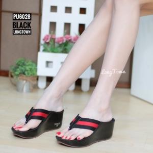รองเท้าแตะส้นเตารีด แบบคีบ สไตล์ลำลอง พื้นนิ่มเวอร์ [สีดำ ]