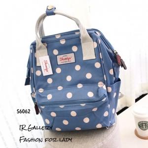 กระเป๋าเป้ผู้หญิง กระเป๋าสะพายหลังแฟชั่น วัสดุหนังเคลือบกันน้ำพิมพ์ลายสวยๆ ปากกว้าง 360องศา ลายจุด [สีฟ้า ]