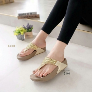 รองเท้าแตะเพื่อสุขภาพ แบบคีบ สายคาดแต่งเพชร [สีทอง ]