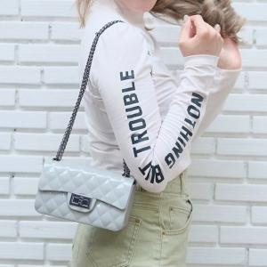 กระเป๋าสะพายแฟชั่น กระเป๋าสะพายข้างผู้หญิง งานสิลิโคนนิ่ม สายโซ่ Mini-Toy [สีเทา ]