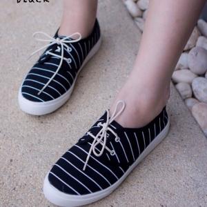 พร้อมส่ง รองเท้าผ้าใบแฟชั่น F59088-BLK [สีดำ]