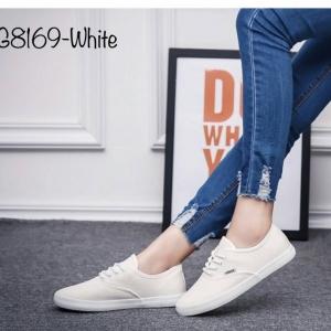 พร้อมส่ง รองเท้าผ้าใบแฟชั่น G8169-WHI [สีขาว]
