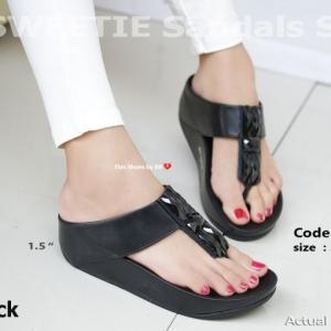 พร้อมส่ง รองเท้าแตะเพื่อสุขภาพสีดำ SWEETIE Sandals Style แฟชั่นเกาหลี [สีดำ ]
