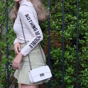 กระเป๋าสะพายแฟชั่น กระเป๋าสะพายข้างผู้หญิง งานสิลิโคนนิ่ม สายโซ่ Mini-Toy [สีขาว ]