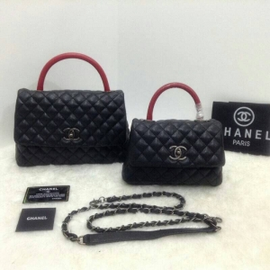 กระเป๋าคลัทช์ กระเป๋าถือแฟชั่น ลายหนังสาน Chanel COCO Handle'10 [สีแดง ]