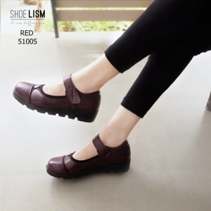 รองเท้าคัทชูผู้หญิง หนังนิ่ม ขอบยางยืดกันกัด สายรัดเมจิกเทป [สีแดง ]