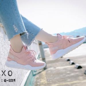พร้อมส่ง รองเท้าผ้าใบเสริมส้นสีชมพู ด้านข้างมี upper ดึงกระชับ แฟชั่นเกาหลี [สีชมพู ]