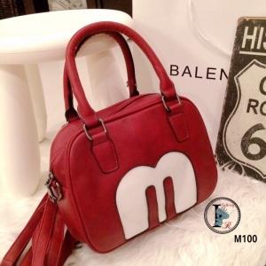 กระเป๋าสะพายแฟชั่น กระเปาสะพายข้างผู้หญิง ปักหน้า สไตล์ Mickey Mouse [สีแดง ]